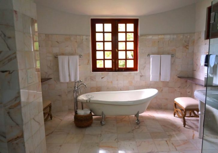Marble Flooring bathroom tan bathtub