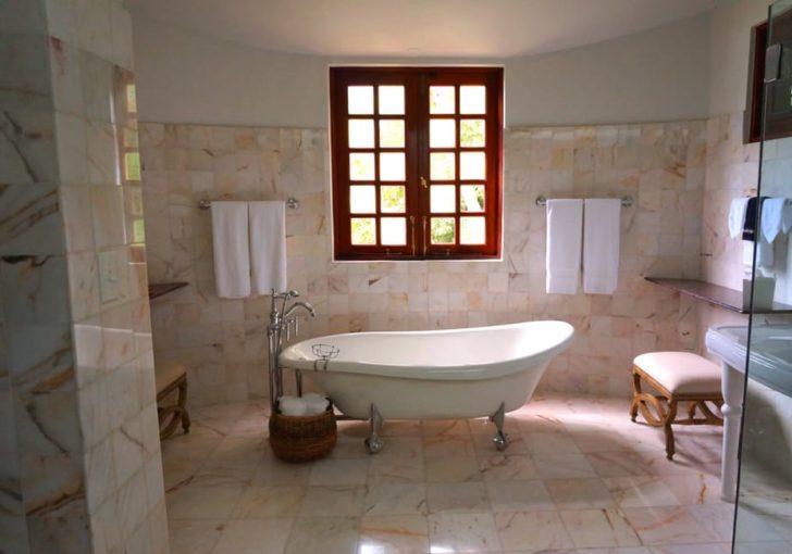 Marble Flooring Bathroom Tan Bathtub