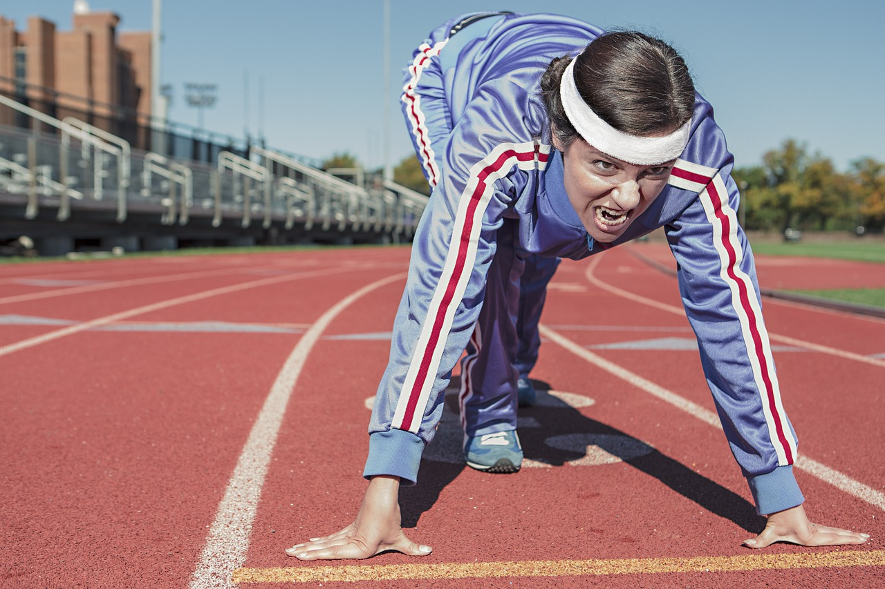 Are You Running woman at starting line tracksuit