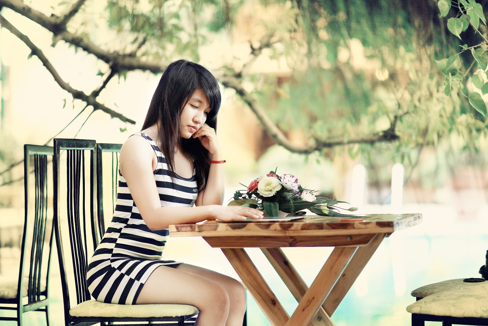 Date Night Dress girl sitting at table