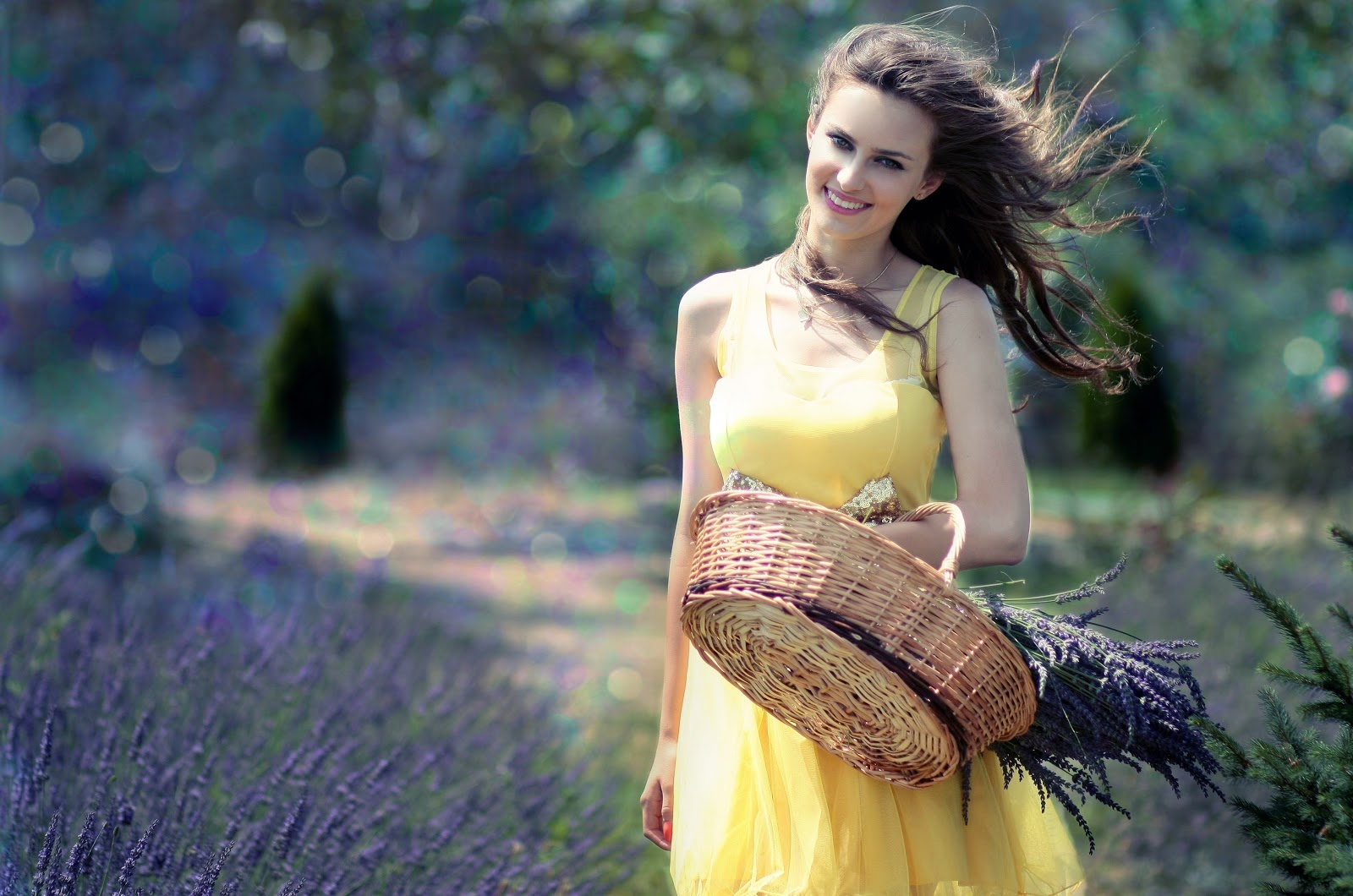 Date Night Dress girl in yellow dress with basket