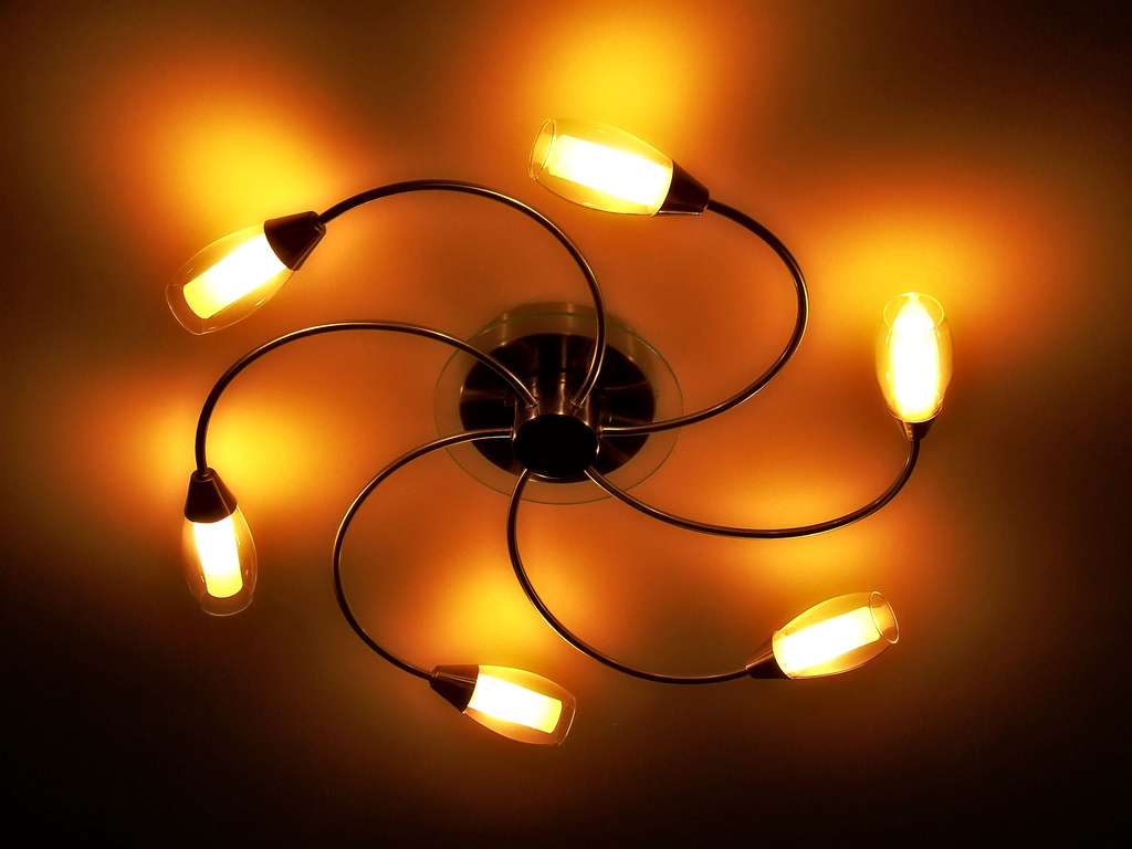 Cozy Bedroom swirling light fixture