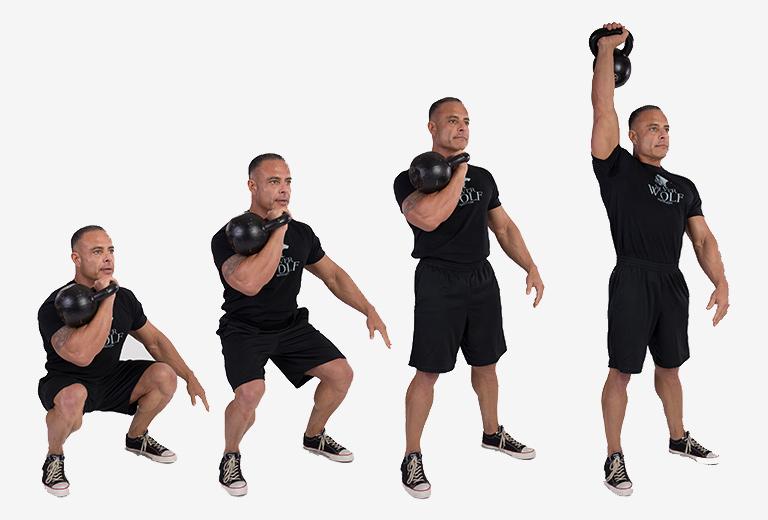 Kettlebell Workouts man doing a jerk