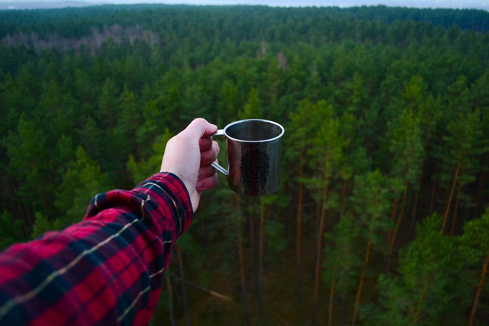 How to Camp and Actually Enjoy It cup of coffee
