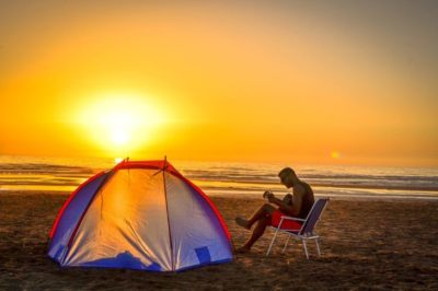 enjoy camping with tent outside