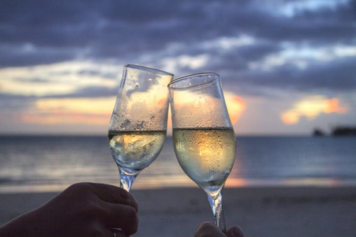 Valentine's Day date sunset glasses of wine
