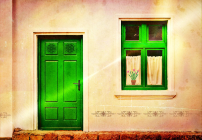 green Entryway door and window