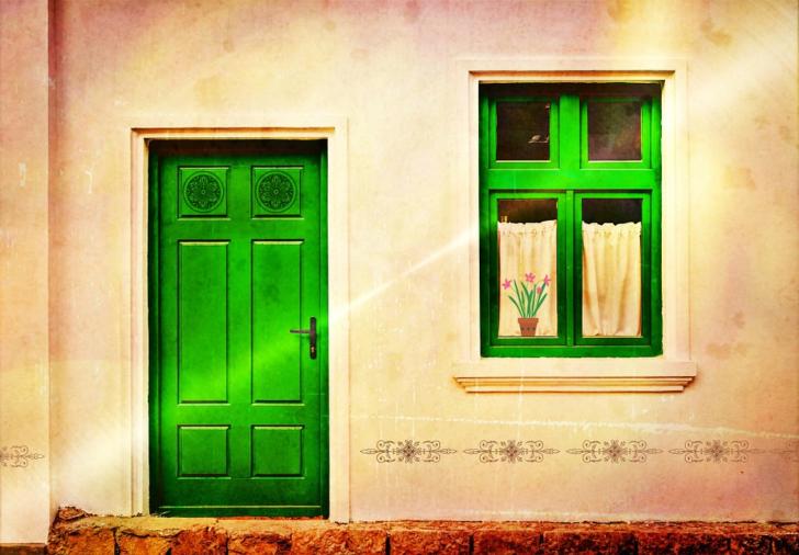 green Entryway door and window