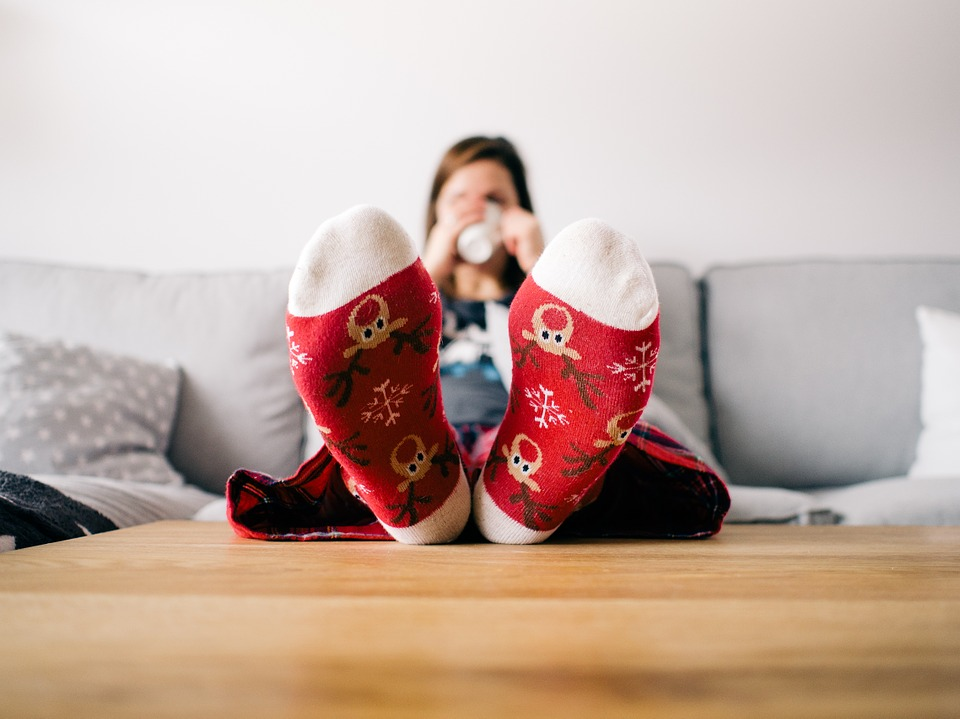 Stress-Free Home feet up sipping coffee