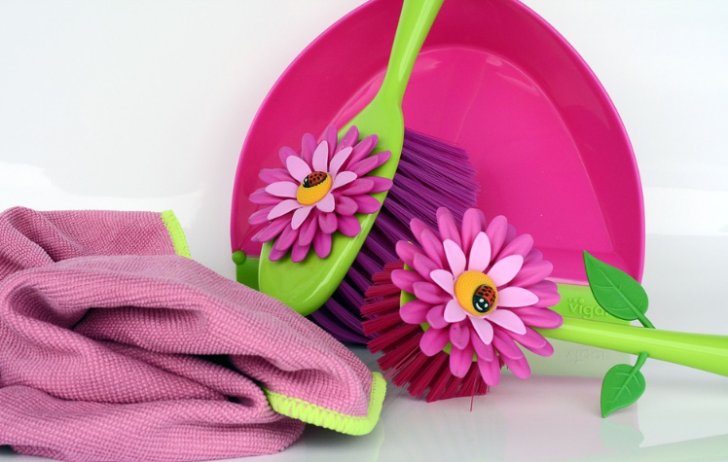 Spring Clean pink scrubbing brushes