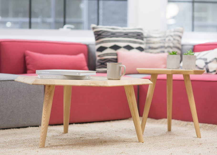 Coffee Table white light red couch