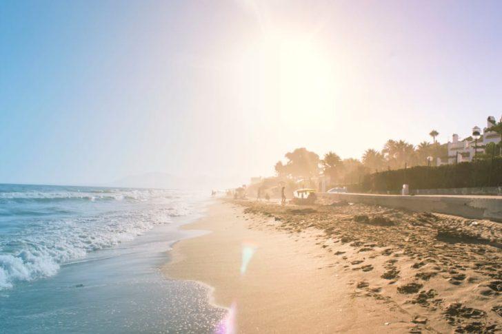 Summer coastline and sunset