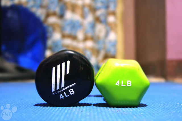 Home Gym barbells light on the ground