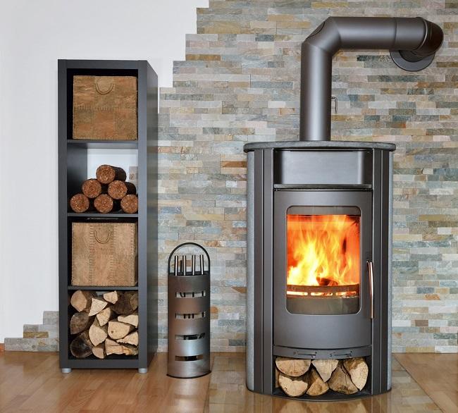 Wood Fireplace nice stone wall backdrop