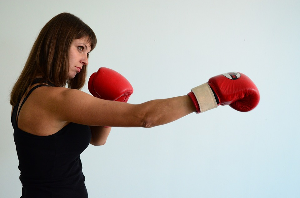 Working Out At Home woman boxing gloves