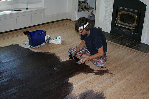 DIY Projects painting wood floor black