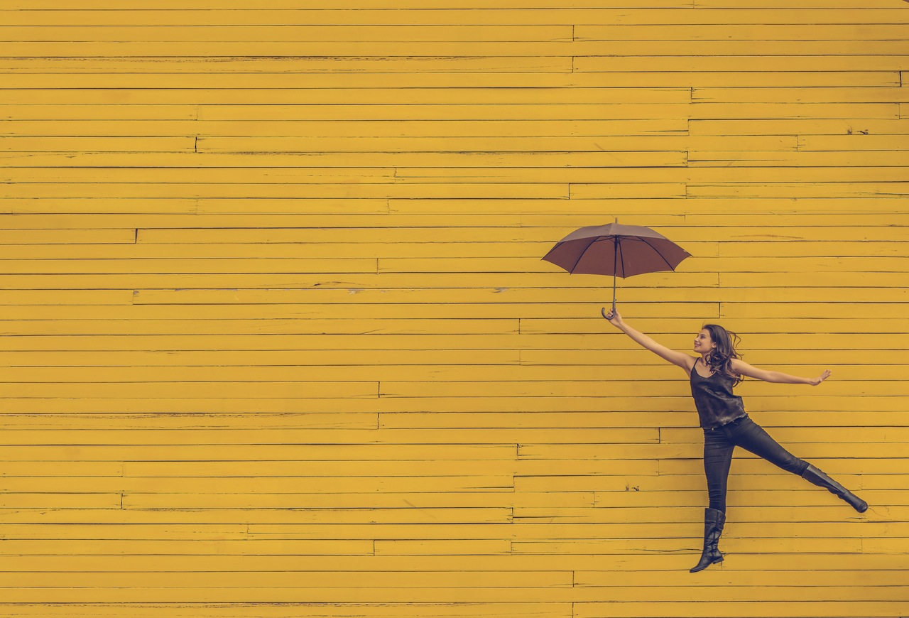 yellow Canvas woman umbrella