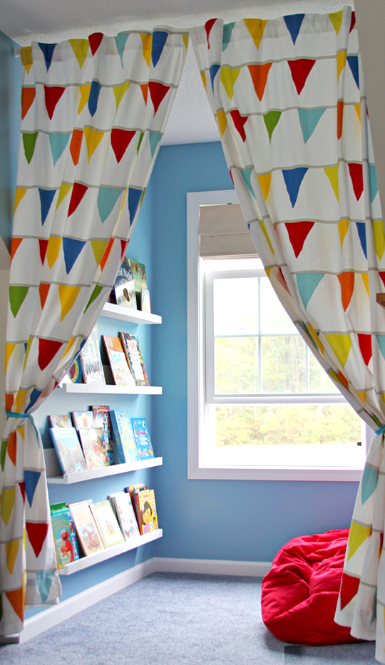 Reading Corner curtain to open window and books