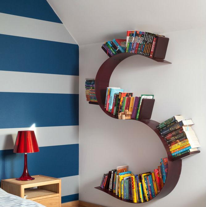 Reading Corner letter shaped bookshelf