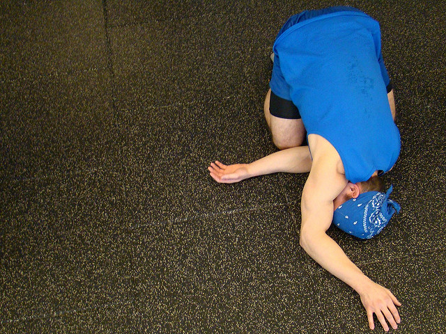 Home Gym woman yoga stretching