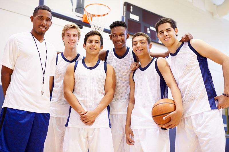 Basketball Uniform team happy with ball