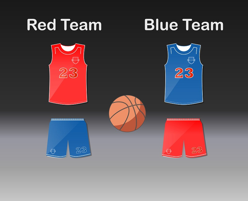 Basketball Uniform red team and blue team
