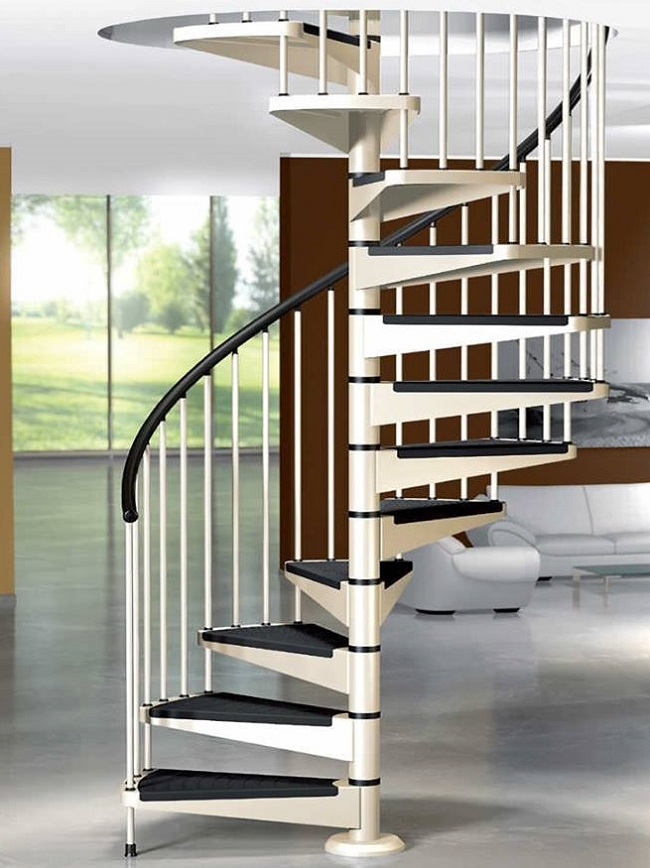 Cantilevered Stairs black and white