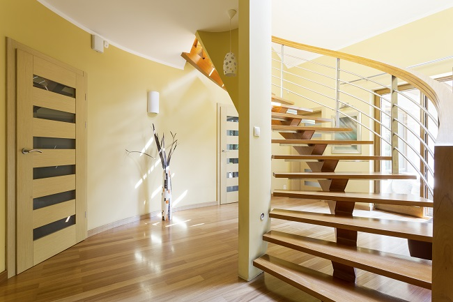 Cantilevered Stairs tan and yellow
