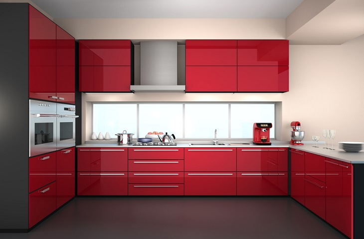 Cabinet Doors red kitchen