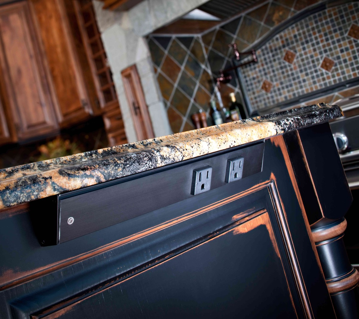 Kitchen Design rustic aged cabinets