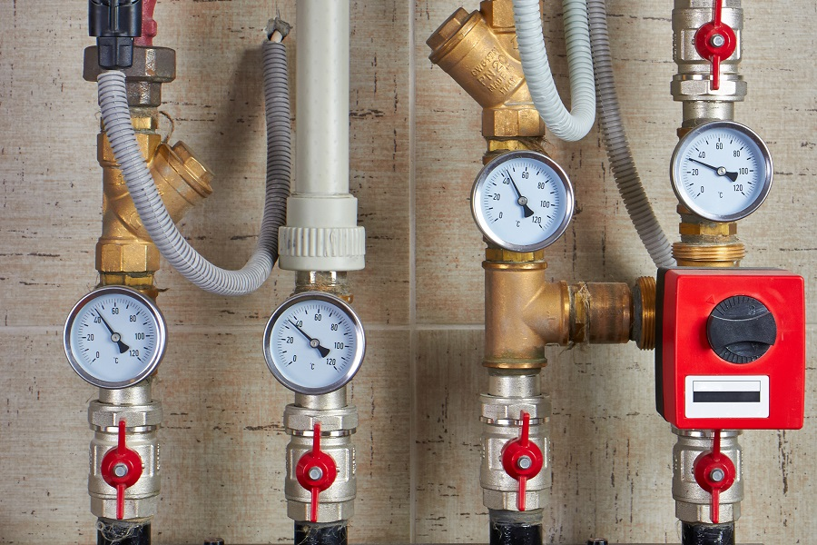 Water System Installation gauges and valves