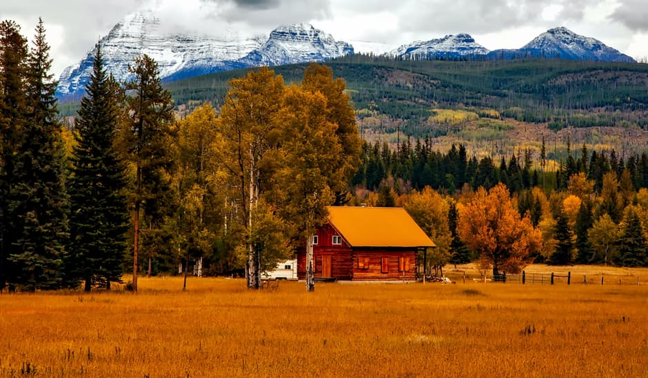 Country Dwellers barn in the brown fall field