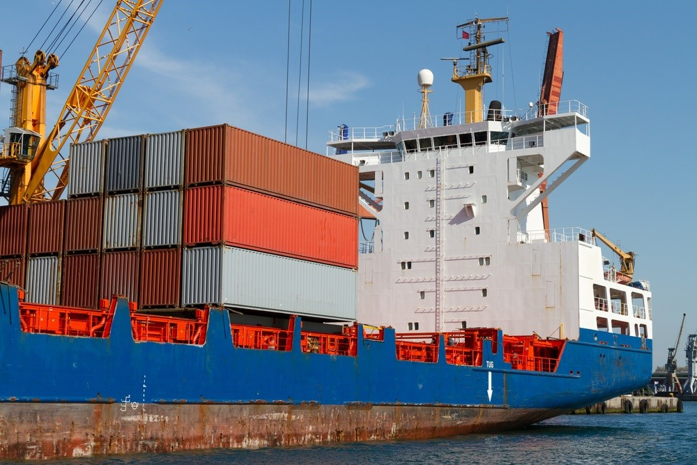Shipping Containers on freighter ship