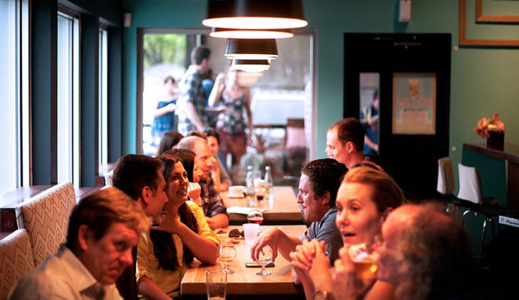 Social Anxiety crowd of people eating