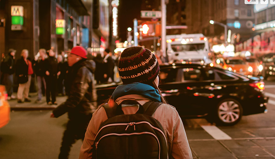 Social Anxiety lonely person on city streets