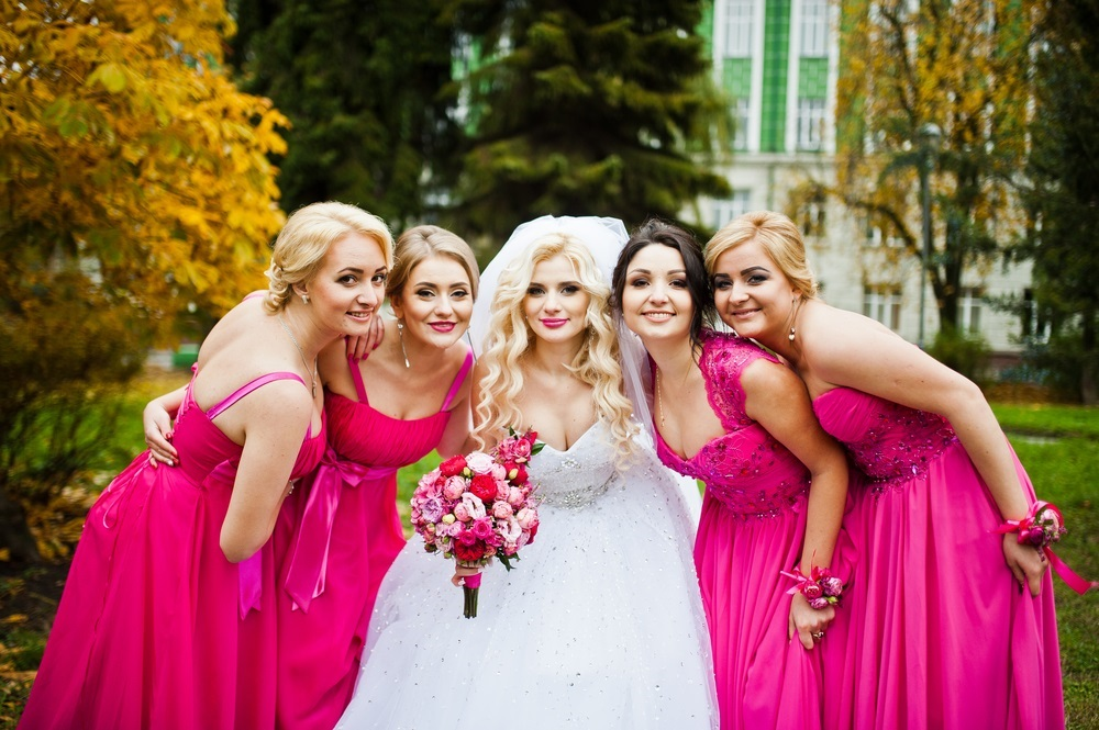 Wedding bridesmaids and bride