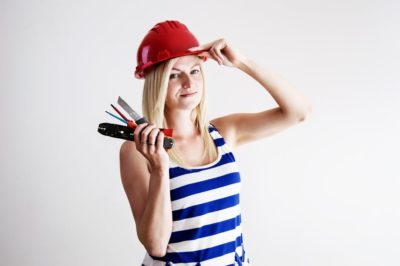 DIY woman work helmet construction