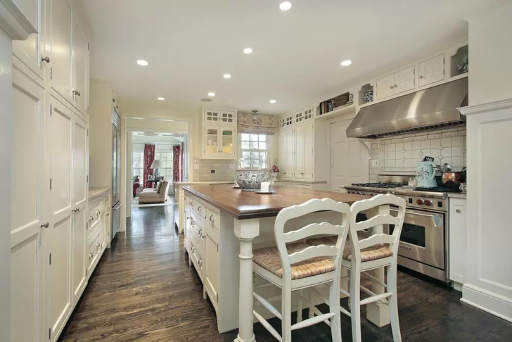 Dream Kitchen white chairs wood floor