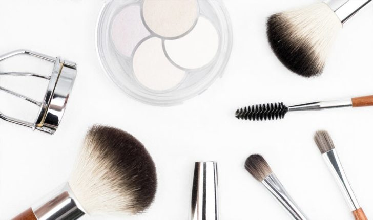 Mineral Makeup brushes on white background