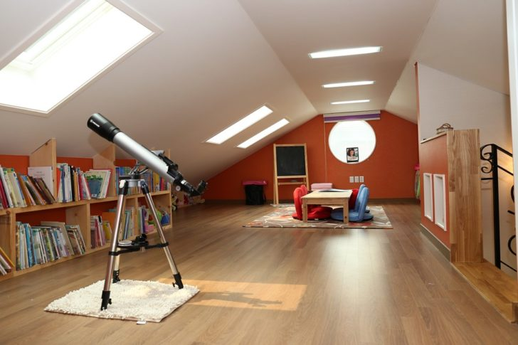 home space attic telescope upstairs