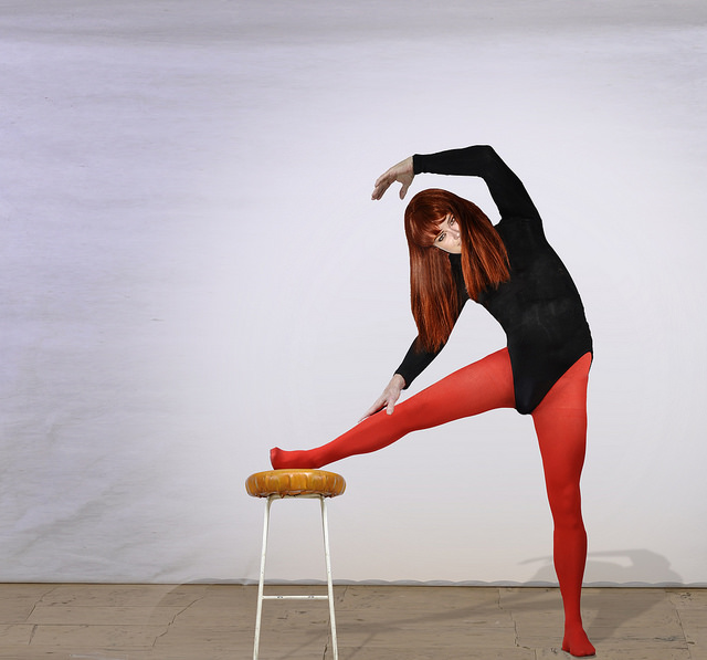 stretching exercise woman on chair