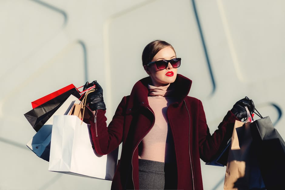 Online shopping outfit buying bags