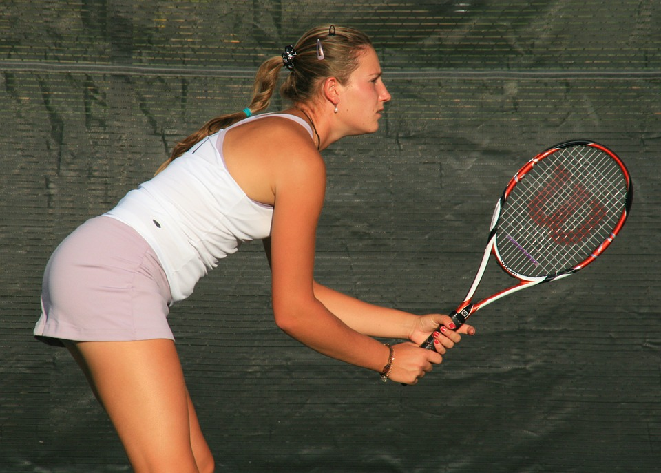 Weigh Less woman tennis player ready