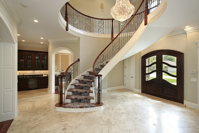 winding lobby stairs sophisticated
