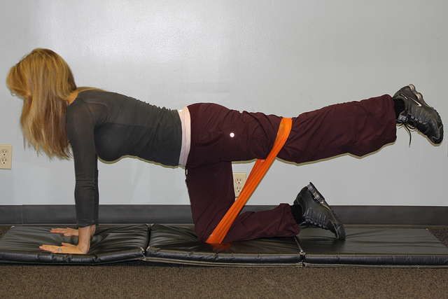 stretching with cord healthy exercise
