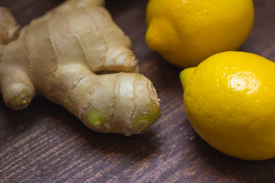 ginger root and whole lemons