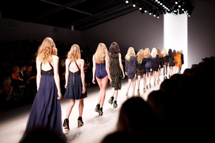 two piece outfit models on runway