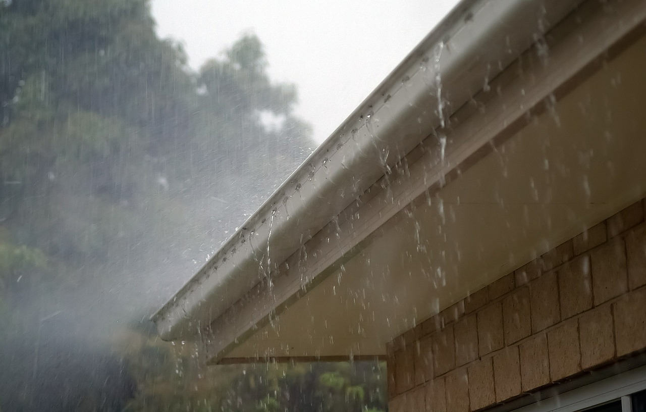 Outside walls rain on the gutters