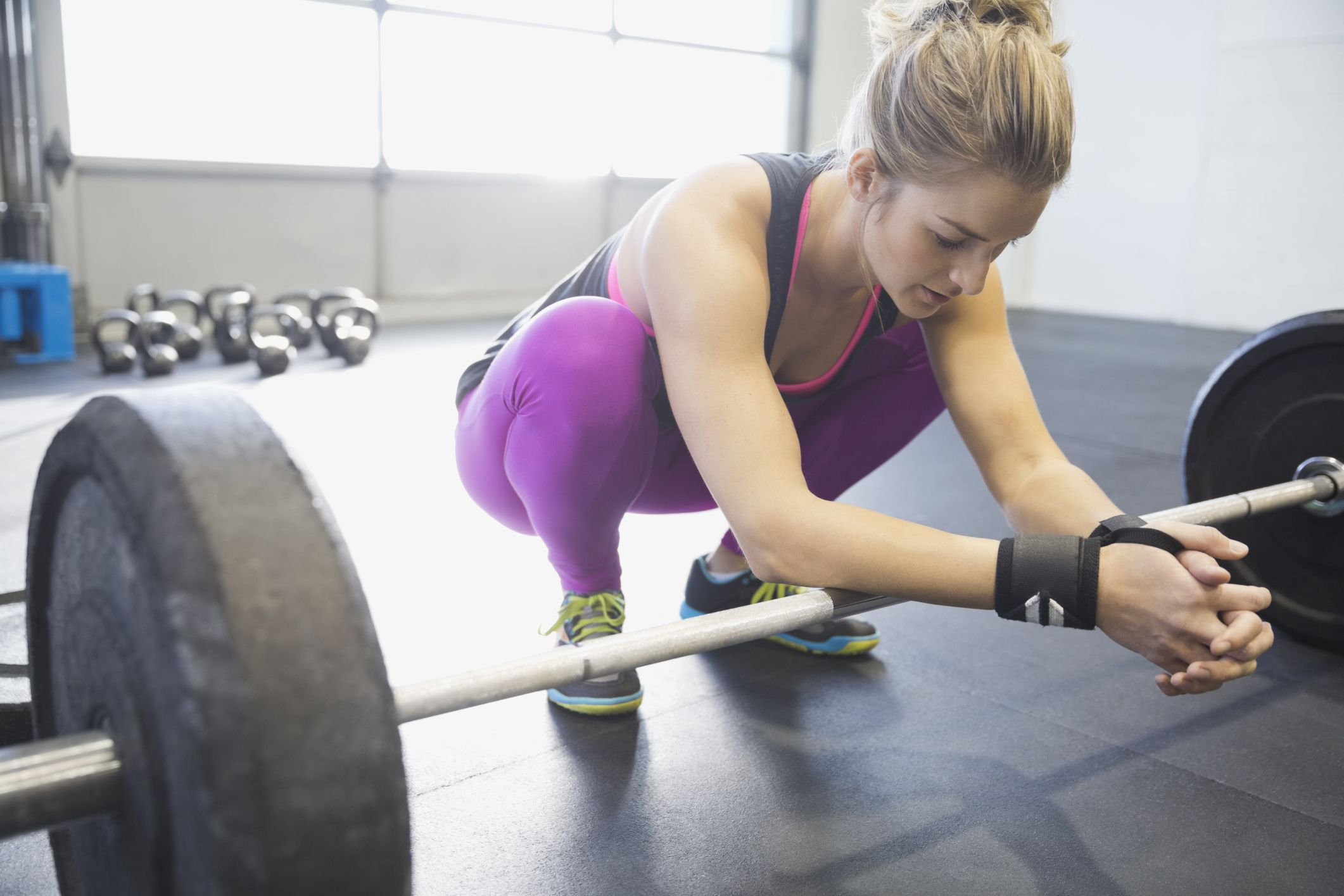woman preparing to deadlift