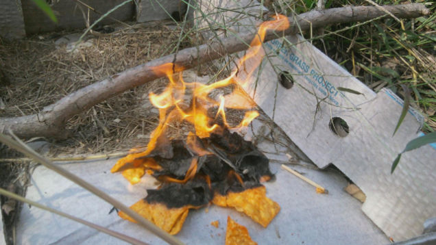 makeshift fire for DIY camping hacks